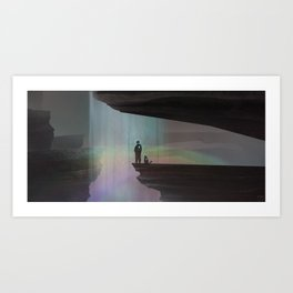 At a waterfall with my cat Art Print