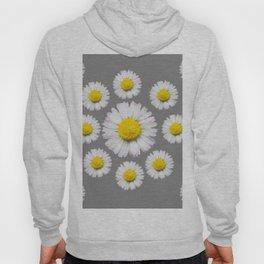 WHITE SHASTA DAISY FLOWERS  DECORATIVE GREY ART Hoody