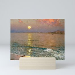 Dusk over the Coast with Lighthouse seascape nautical painting by Guillermo Gómez Gil  Mini Art Print