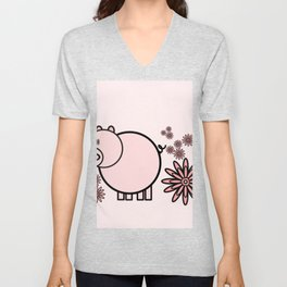 Pink pig in flowers Unisex V-Neck