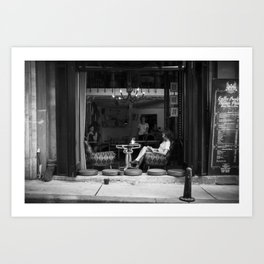 Morning coffee in a cafe - Black and white street photography Art Print