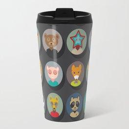 animals faces circle icons set in Trendy Flat Style. zoo Travel Mug