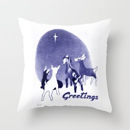 Christmas in the Stable Throw Pillow