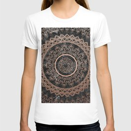 Mandala - rose gold and black marble T-shirt