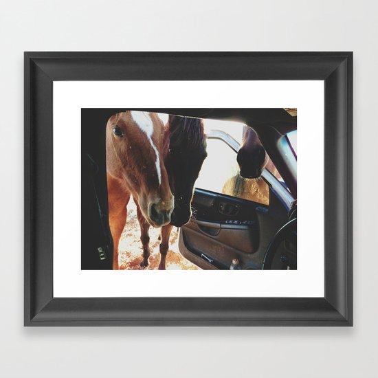 Car Horses Framed Art Print