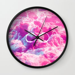 Girly Infinity Symbol Bright Pink Clouds Sky Wall Clock