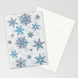"""""""Embroidered"""" Snowflakes on white canvas Stationery Cards"""