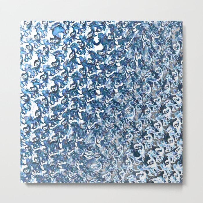 Blue Swirled Steel Metal Print