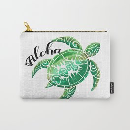 Vintage Hawaiian Distressed Turtle Carry-All Pouch