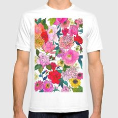 Peonies & Roses Mens Fitted Tee White MEDIUM