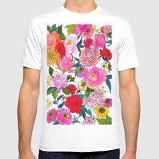 Peonies & Roses Mens Fitted Tee MEDIUM White