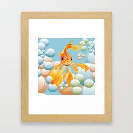 Vermillion Goldfish Blowing Bubbles Framed Art Print