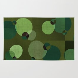 """Retro Green Super Dots"" Rug"