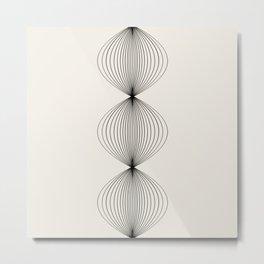Geometric Orb Row - Black Metal Print