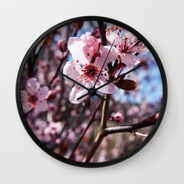Pink Blossom Photography Print Wall Clock