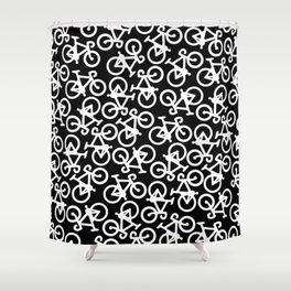 Black and White Bikes Pattern Shower Curtain