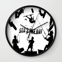 Seas The Day Kitesurfing Wall Clock