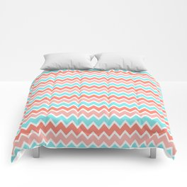 Coral Peach Pink and Aqua Turquoise Blue Chevron Comforters