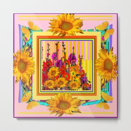 Pink Color Hollyhock Sunflowers Yellow Butterflies Metal Print