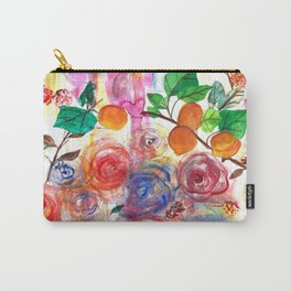 Abstract Watercolour Floral + Fruit Painting  Carry-All Pouch