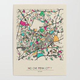 Colorful City Maps: Ho Chi Minh City, Vietnam Poster