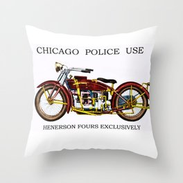 1922 Chicago Police Henderson De Lexe Motorcycle Portrait by Jeanpaul Ferro Throw Pillow