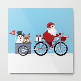 Christmas cycling tour - Santa Claus riding bicycle with red nose reindeer and snowman in trailer Metal Print