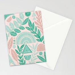 Blush Geometric Botanical Stationery Cards