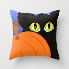 Cute Halloween Pumpkin Cat Throw Pillow