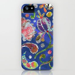 Blue Paisley Collage iPhone Case