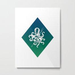 Turquoise Diamond Octopus Metal Print