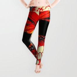 HALLOWEEN BLOODY SKULL & BUTTERFLY ART Leggings