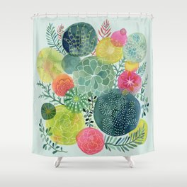 Succulent Circles Shower Curtain
