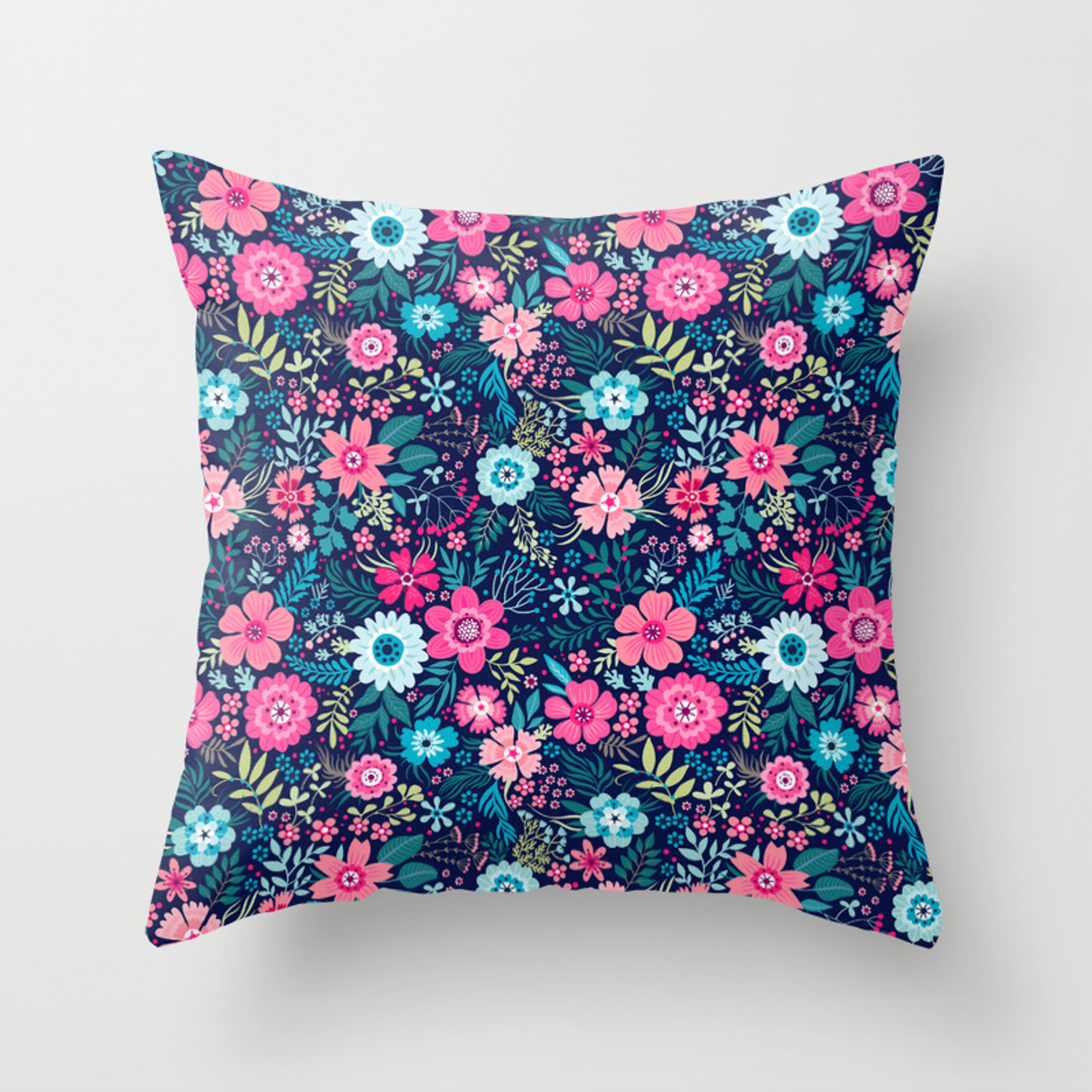 Amazing Floral Pattern With Bright Colorful Flowerson A Dark Blue Background Throw Pillow By Ann And Pen Society6