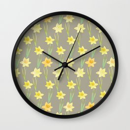 Yellow Watercolour Stemmed Daffodil Pattern Wall Clock
