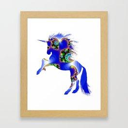 Magic Blue Unicorn Framed Art Print