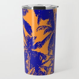 Palm Trees Design in Blue and Orange Travel Mug