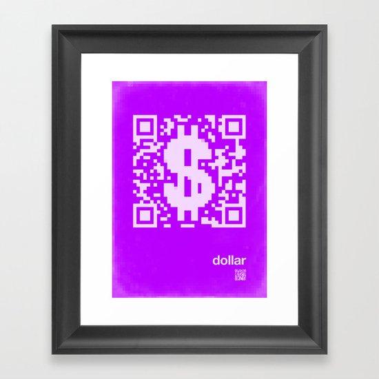 QR dollar Framed Art Print
