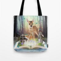 roald dahl Tote Bags featuring Believe In Magic • (Bambi Forest Friends Come to Life) by soaring anchor designs