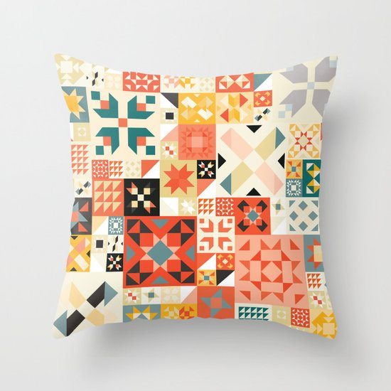 Modern Quilt Pattern Throw Pillow by Cina Catteau Society6