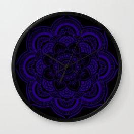 Mandala Deep Indigo Blue Black Wall Clock