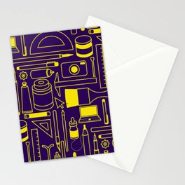 Art Supplies - Eggplant and Yellow Stationery Cards