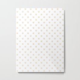 Tan Brown on White Snowflakes Metal Print