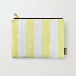 Vertical Stripes - White and Pastel Yellow Carry-All Pouch