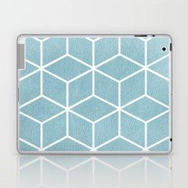 Light Blue and White - Geometric Textured Cube Design Laptop & iPad Skin