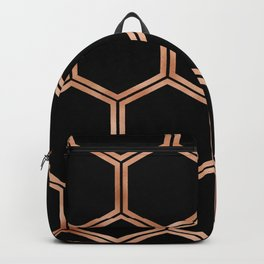 Black onyx copper hexagons Backpack