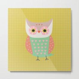 Owl Ochre Metal Print