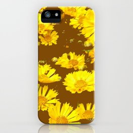 COFFEE BROWN & YELLOW COREOPSIS  FLORAL ART DESIGN iPhone Case