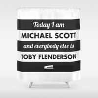 michael scott Shower Curtains featuring Today I am Michael Scott by The LOL Shop