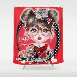Cat Crazy Chloe - MunchkinZ Elf - Sheena Pike Art & Illustration Shower Curtain